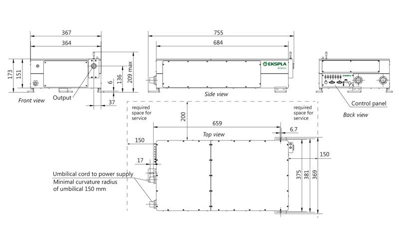 Atlantic 20-1064, Atlantic 40-1064, Atlantic 60-1064 laser head outline drawings