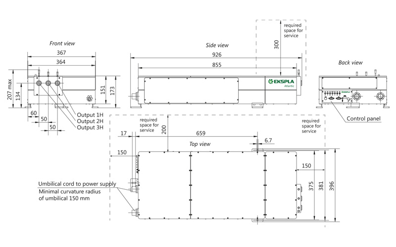 Atlantic 20-532/355, Atlantic 40-532/355, Atlantic 60-532/355 laser head outline drawings