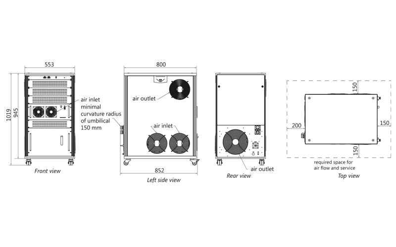 Atlantic 20-1064/532/355, Atlantic 40-1064/532/355, Atlantic 60-1064/532/355 power supply outline drawings