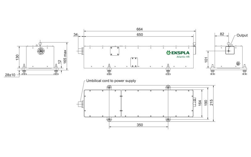 Atlantic HR-1064 and Atlantic HR-532 laser head outline drawings