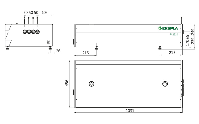 Dimensions of PL2210 series laser head (for models PL2210, PL2210A and PL2210B)