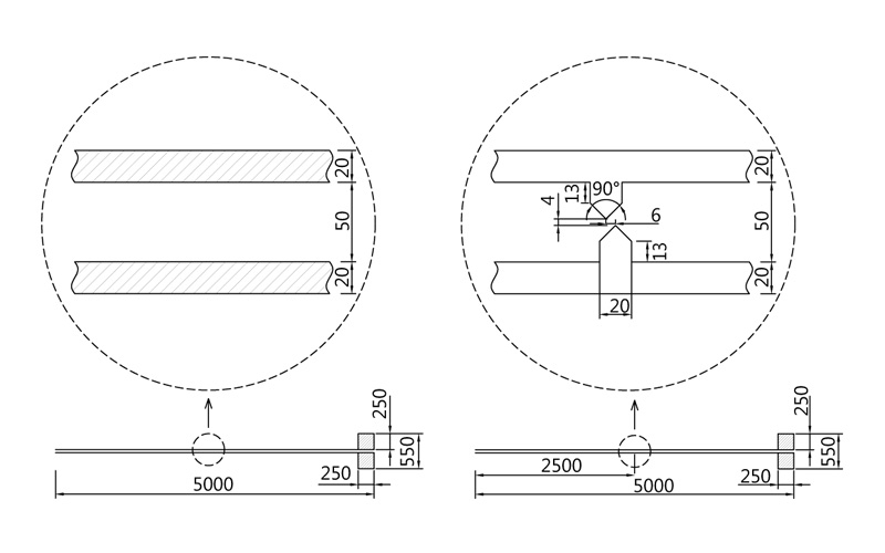 Fig. 1. THz Microstip antena drawings: (a) emitter, (b) detector