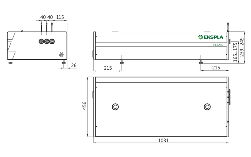 Dimensions of PL2230 series laser head