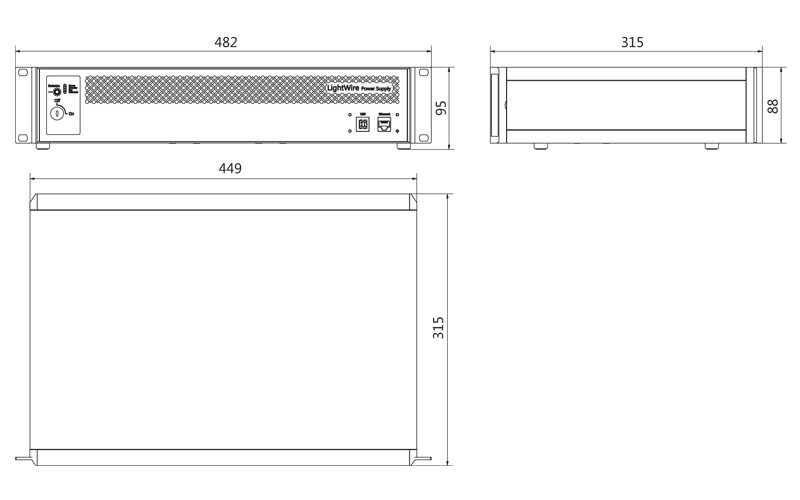 LightWire FF200 control unit outline drawing