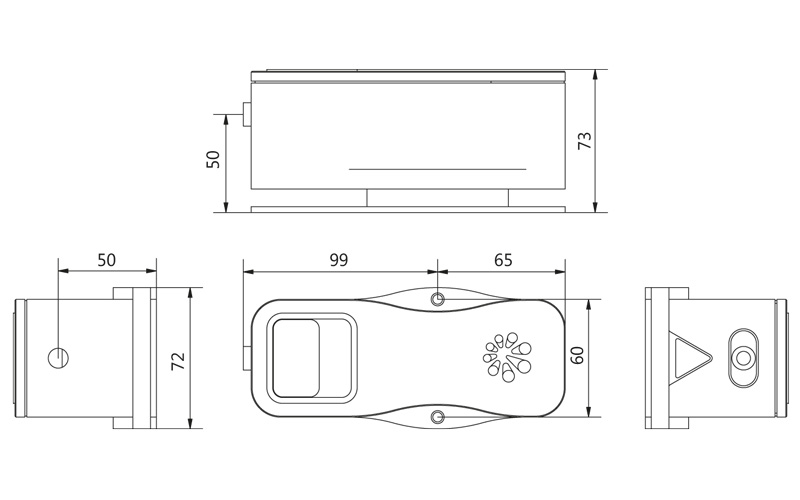 LightWire FF200 laser collimator unit outline drawing