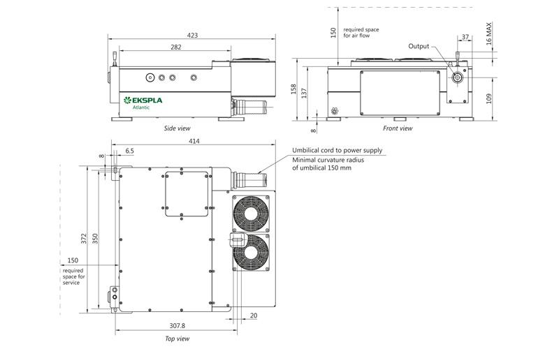 Atlantic 6-1064 laser head outline drawings