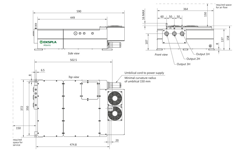 Atlantic 6-532 and Atlantic 6-355 laser head outline drawings