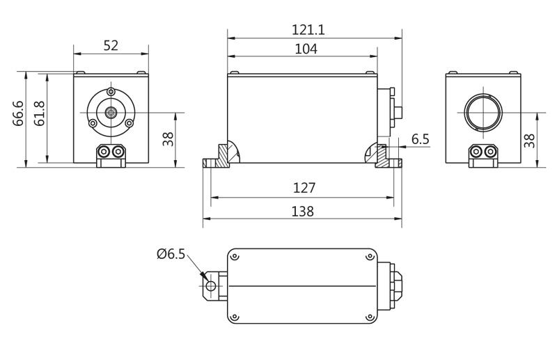 LightWire FFS200CHI laser isolator & collimator unit outline drawing