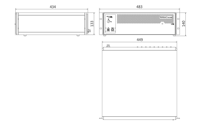 Outline drawing of FemtoLux 3 control unit