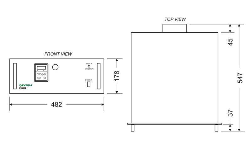 Fig.1. Physical dimensions of PS5050 flashlamp driver